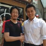 細野豪志さんとツーショット @伏見大手筋商店街
